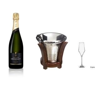 Lot Seau à Champagne design bois lodge, 6 flûtes à Champagne et Champagne Gremillet bouteille 75cl - 3 produits