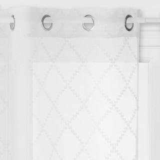 Voilage design jacquard Eté Indien - 140 x 240 cm - Blanc
