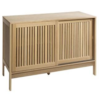 Buffet bas en bois design lattes Osani - L. 110 x H. 75 cm - Marron