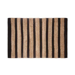 Tapis en jute naturel rayures Box - L. 90 x l. 60 cm - Noir
