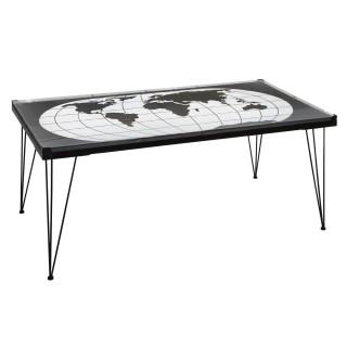 Table basse design métal Mappemonde - L. 110 x H. 52 cm - Noir