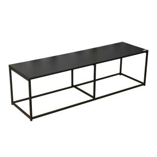 Meuble TV design en métal Madison - L. 140 x H. 40 cm - Noir