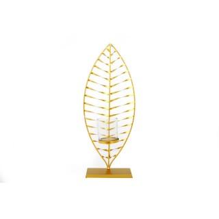 Bougeoir design en métal Feuille - L. 19 x H. 46 cm - Doré