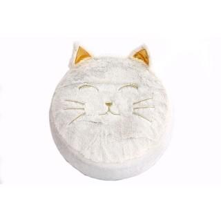 Pouf en velours enfant chat Wilddidou - Diam. 45 cm - Blanc