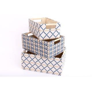 3 Paniers design Art Déco Geo - Blanc