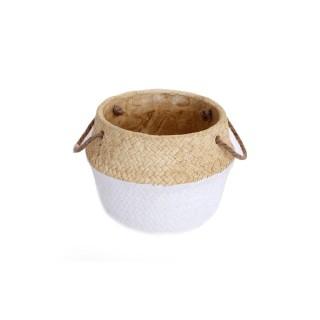Cache-pot design panier tressé Naturel - Diam. 19 cm - Blanc