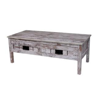 Table basse effet bois ancien Vego - L. 100 x H. 37 cm
