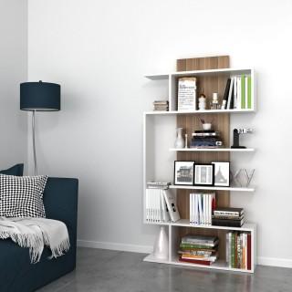 Etagère bibliothèque design bois Joke - L. 90 x H. 172 cm - Blanc