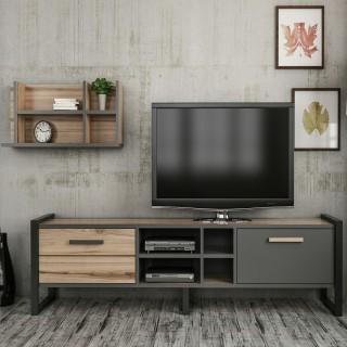 Meuble TV design avec étagère Leno - L. 184 x H. 39 cm - Gris anthracite