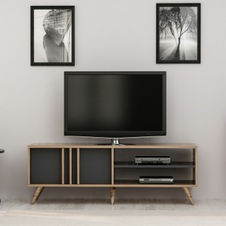 Meuble TV design bois Bren - L. 150 x H. 48 cm - Gris anthracite