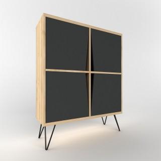Etagère buffet design bois Momentum - L. 90 x H. 110 cm - Noir
