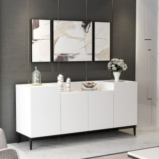 Buffet design Ellaria - L. 160 x H. 75 cm - Blanc