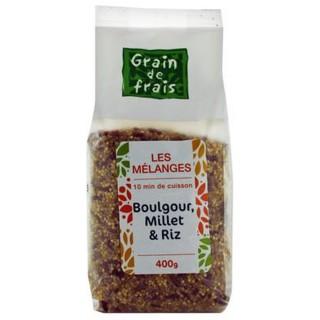 Mélange boulgour, millet et riz - Grain de Frais - paquet 400g