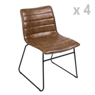 Lot de 4 Chaises design industriel Brooklyn - Marron kaki