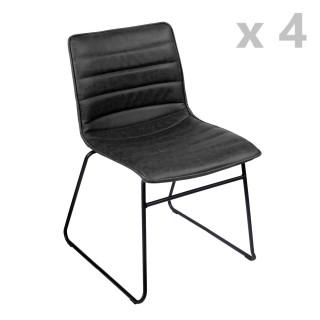 Lot de 4 Chaises design industriel Brooklyn - Noir