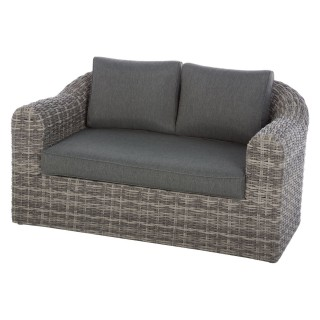 Canapé de jardin en résine tressée Moorea - 2 Places - Gris ombre