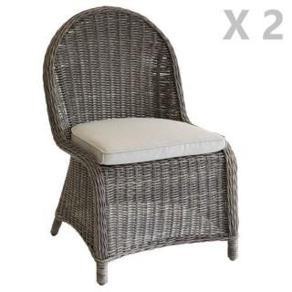 2 Chaises de jardin résine tressée Bétong - Marron noisette