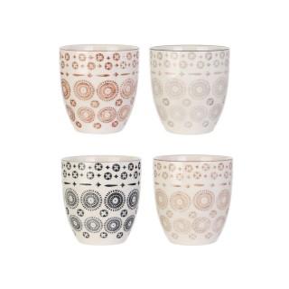 4 Mugs design ethnique Mirage - 250 ml - Blanc
