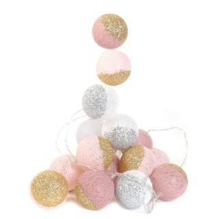 Guirlande lumineuse 16 LED Boule Céleste - L. 300 cm - Rose et doré