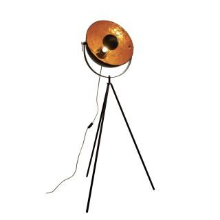 Lampadaire trépied design métal Cinéma - H. 180 cm - Noir et doré