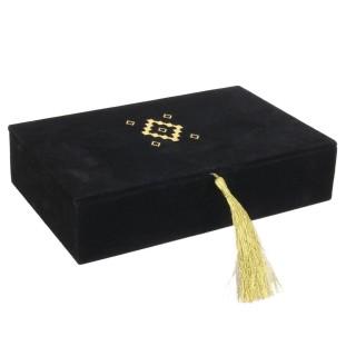 Boîte à bijoux ethnique en velours Mirage - Noir