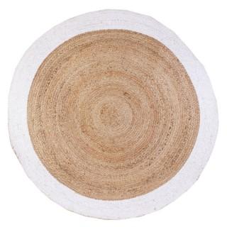 Tapis rond en jute design bicolore Sophie - Diam. 120 cm - Blanc
