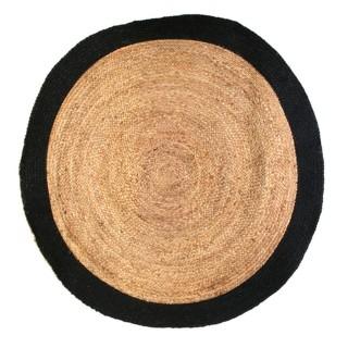 Tapis rond en jute design bicolore Sophie - Diam. 120 cm - Noir