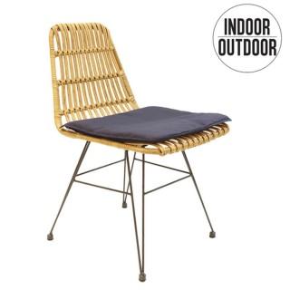 Chaise de jardin tressée design ethnique Surabaya - Marron naturel