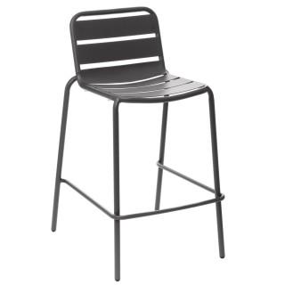 Chaise haute de jardin empilable design Phuket - Gris graphite