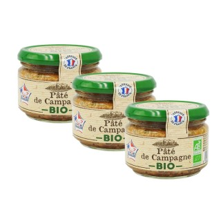 Lot 3x Pâté de campagne BIO - France - pot 180g