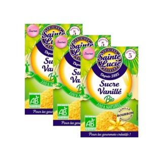 Lot 3x Sucre vanillé BIO - Sainte Lucie - 5 sachets de 7,5g
