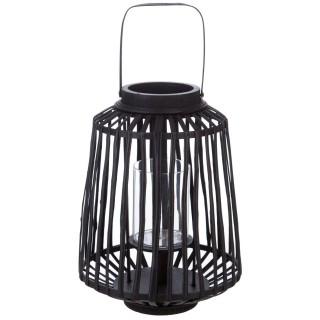 Lanterne en rotin ethnique Mood - H. 35 cm - Noir