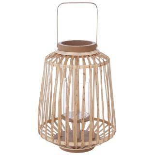 Lanterne en rotin ethnique Mood - H. 35 cm - Beige