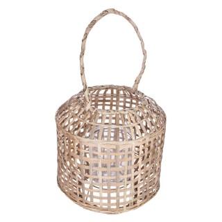 Lanterne en bambou ethnique Nomade - H. 28 cm - Beige