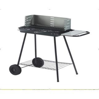 Barbecue à charbon avec tablette et roulettes Karmila - 8 Personnes - Noir