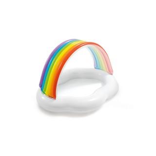 Piscinette pataugeoire gonflable Arc-en-ciel - L. 142 x H. 13 cm - Blanc
