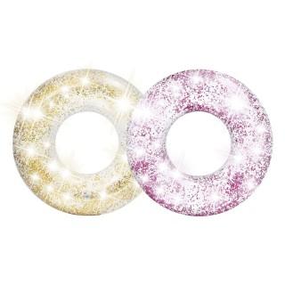 2 Bouées gonflables Glitter - Diam. 119 cm - Rose et doré