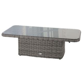Table relevable de jardin en résine tressée Moorea - L. 150 x H. 45 cm - Gris ombre