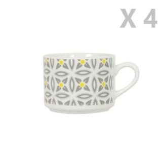 4 Tasses en porcelaine Aristo - Blanc décoré