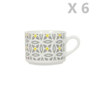 6 Tasses en porcelaine Aristo - Blanc décoré