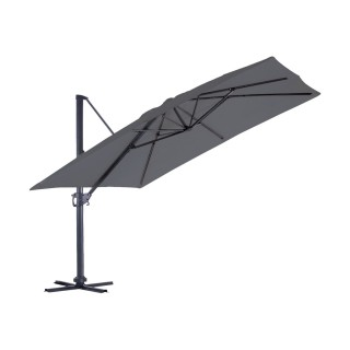 Grand parasol déporté inclinable rectangulaire Almeria - L. 400 x l. 300 cm - Gris anthracite