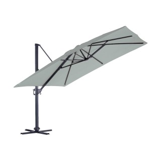 Grand parasol déporté inclinable rectangulaire Almeria - L. 400 x l. 300 cm - Gris perle