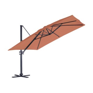 Grand parasol déporté inclinable rectangulaire Almeria - L. 400 x l. 300 cm - Terracotta