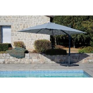 Parasol déporté inclinable carré Cadix - L. 300 x l. 300 cm - Gris clair