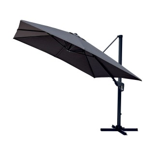 Parasol déporté inclinable carré Cadix - L. 300 x l. 300 cm - Gris anthracite