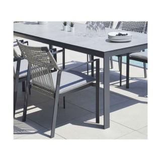 Fauteuil pour table de jardin empilable design maille Tropea - Gris