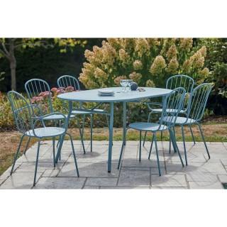 Ensemble repas de jardin en acier Porto - 6 Personnes - Bleu clair