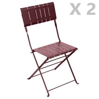 2 Chaises de jardin pliables design Nasca - Bordeaux