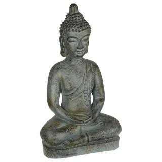 Statue de Bouddha assis en pierre - H. 65 cm - Gris