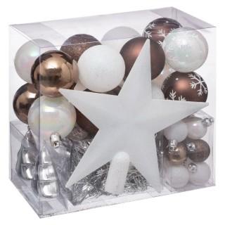 Kit de décoration pour sapin de Noël - 44 Pièces - Marron et blanc